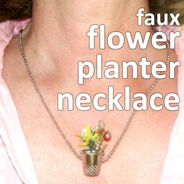 Faux Flower Planter Necklace