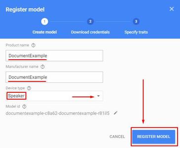 Actions on Google - Model Setup: