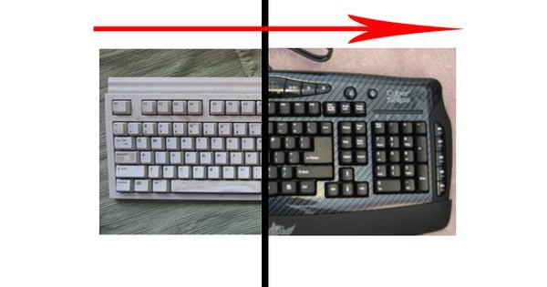 Old Keyboard Transormed Into Custom Gaming Keyboard
