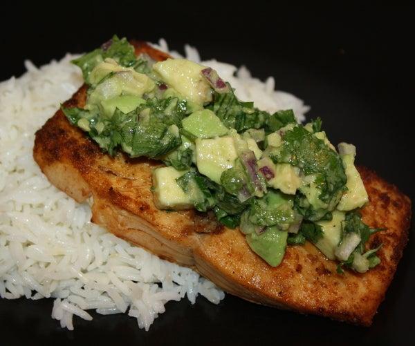 Spicy Salmon With Avocado Cilantro Salsa