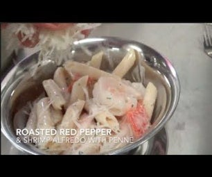 Roasted Red Pepper & Shrimp Alfredo With Penne