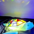 Stained Glass Flying Turtle Lamp - Low Poly Model to Stained Glass