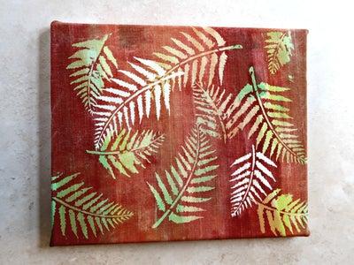 Mounting My Autumn Batik Art on Canvas.