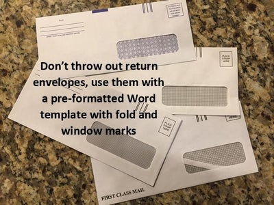 Re-purpose Return Envelopes for Personal Mail