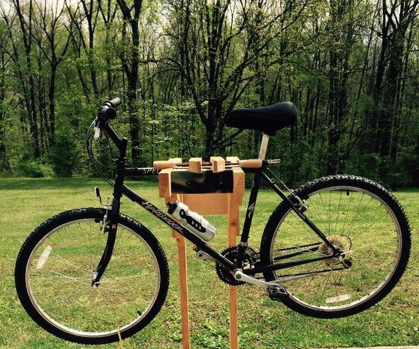Homemade Wooden Bicycle Stand With Dual Mounting