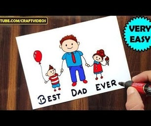 HOW TO DRAW FATHER'S DAY CARD | FATHERS DAY DRAWING
