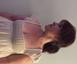 Crochet and Vintage Gauze Restyled and Upcycled T Shirt