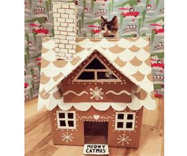Cardboard Gingerbread Cat House