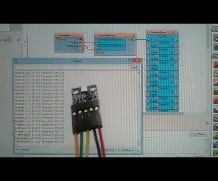 Arduino Nano: Barometric Pressure and Temperature BMP180 Sensor With Visuino