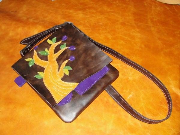 All Leather IPad Messenger Bag (fig Tree Motif)