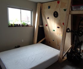Rock Climbing Wall Murphy Bed & Vertical Bike Storage
