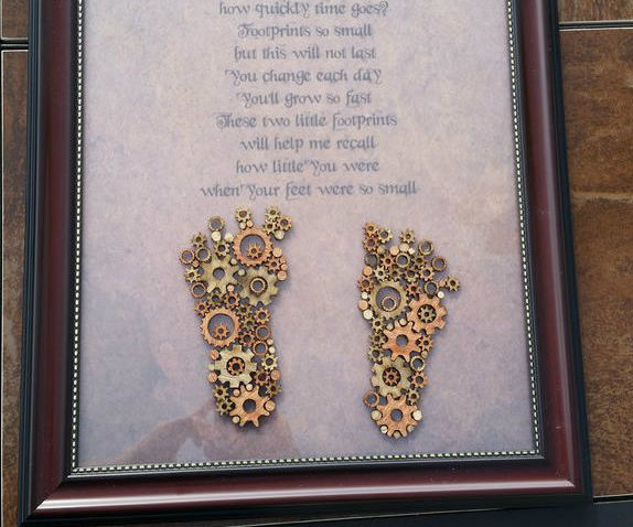 Steampunk Footprint Keepsake