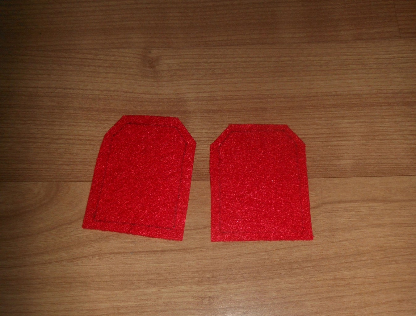 Take the Felt Fabric and Cut It Like the Picture. the Size of the Rectangle Is 5cm and 6cm.