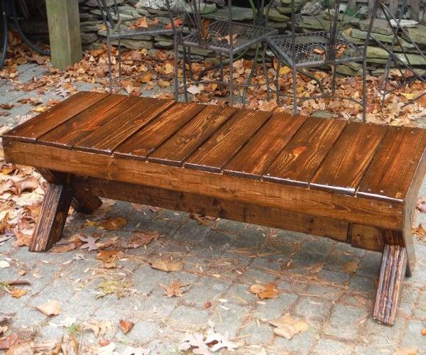Wood Picnic Bench, $30 Lumber, $15 Finish.
