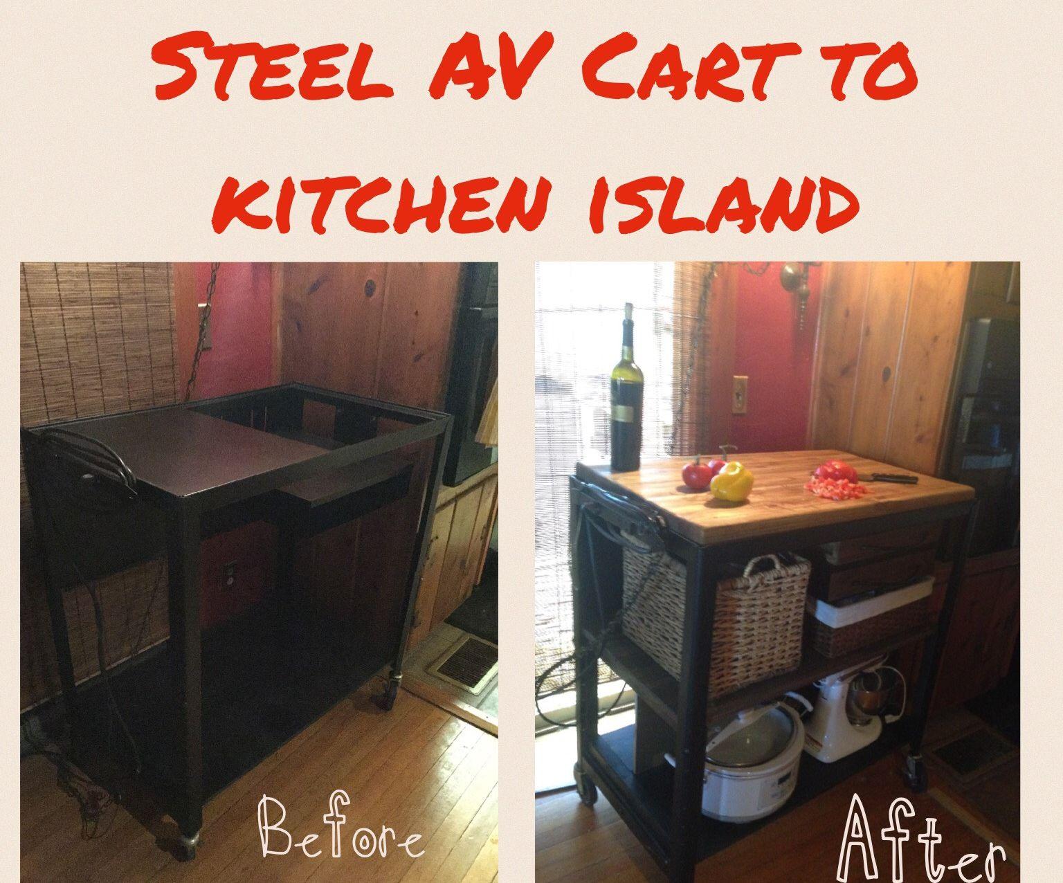 Steel AV Cart Repurposed to Kitchen Storage Island