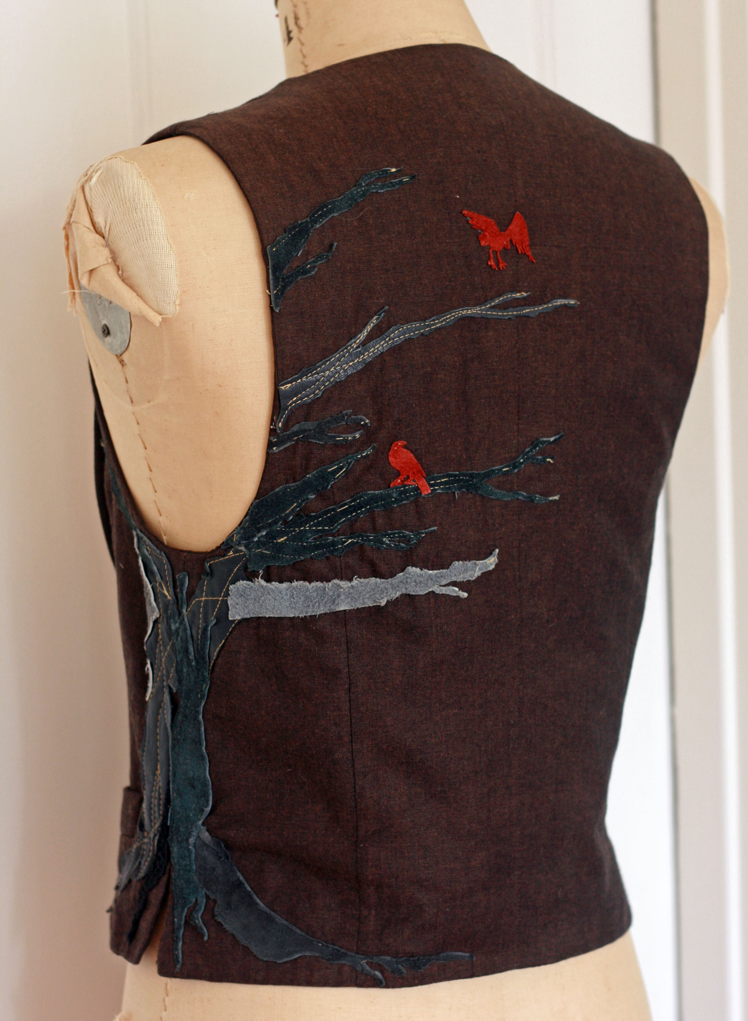 Leather Collage Vest