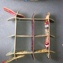 Simple shoe + hat rack, made from old skateboards.