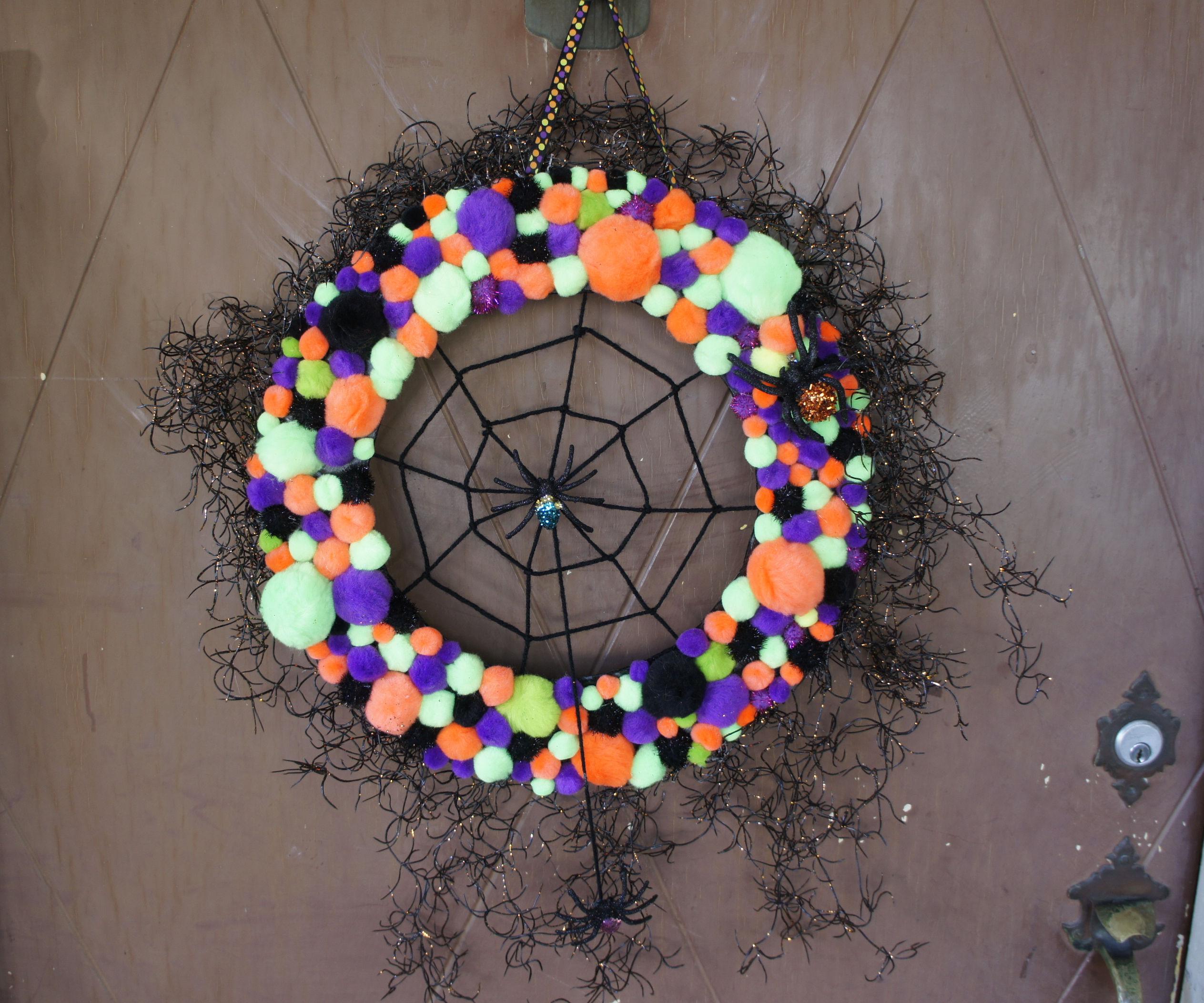 Halloween Hiding Place - Pom Pom Door Wreath