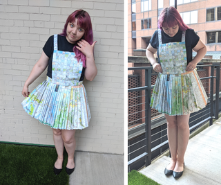 Paper Map Pinafore Dress