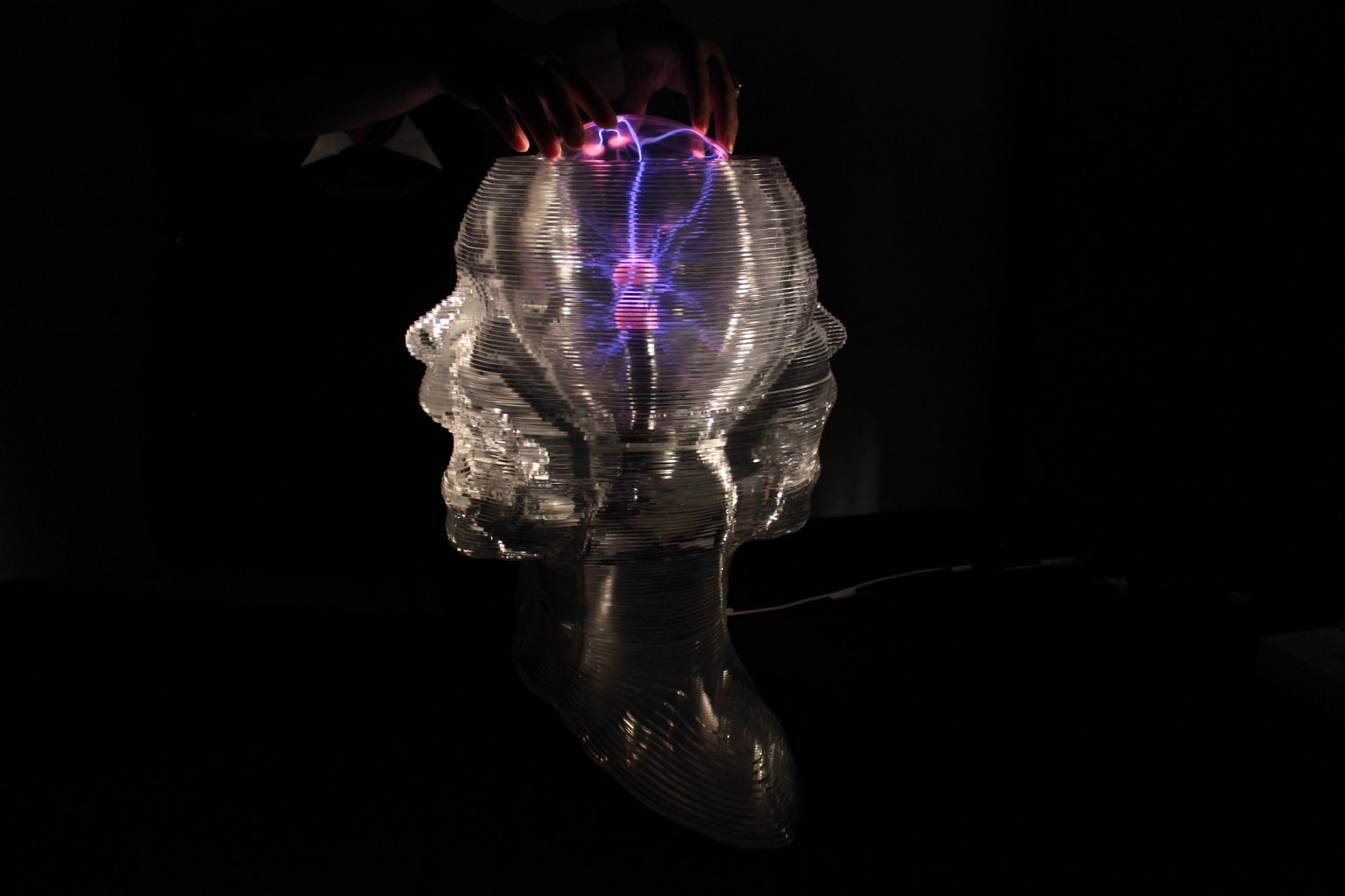 Interactive Sculpture (Talking Double Head by Touching Plasma Ball)