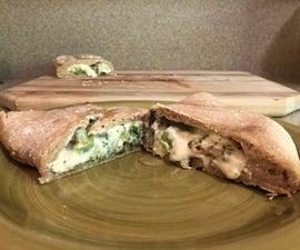 Broccoli, Spinach and Mushroom Calzone in the Bread Machine