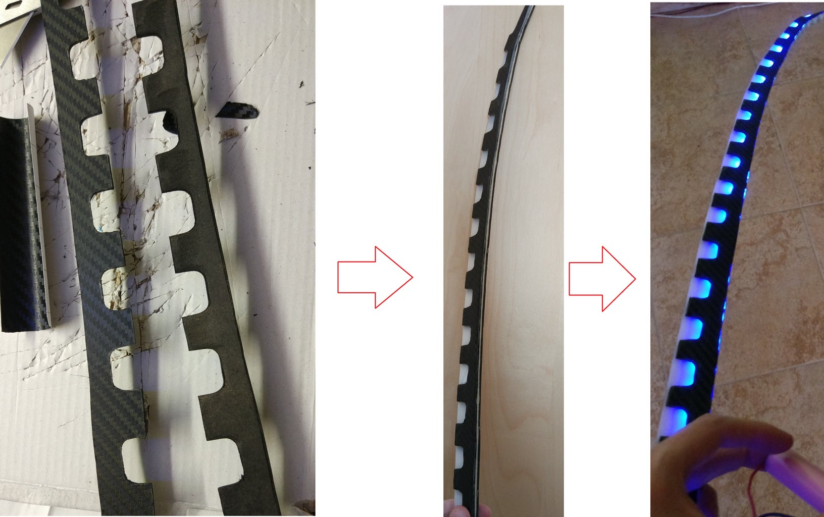 Paint the MDF in Black and Stick the LED Band to the Back of the Blade