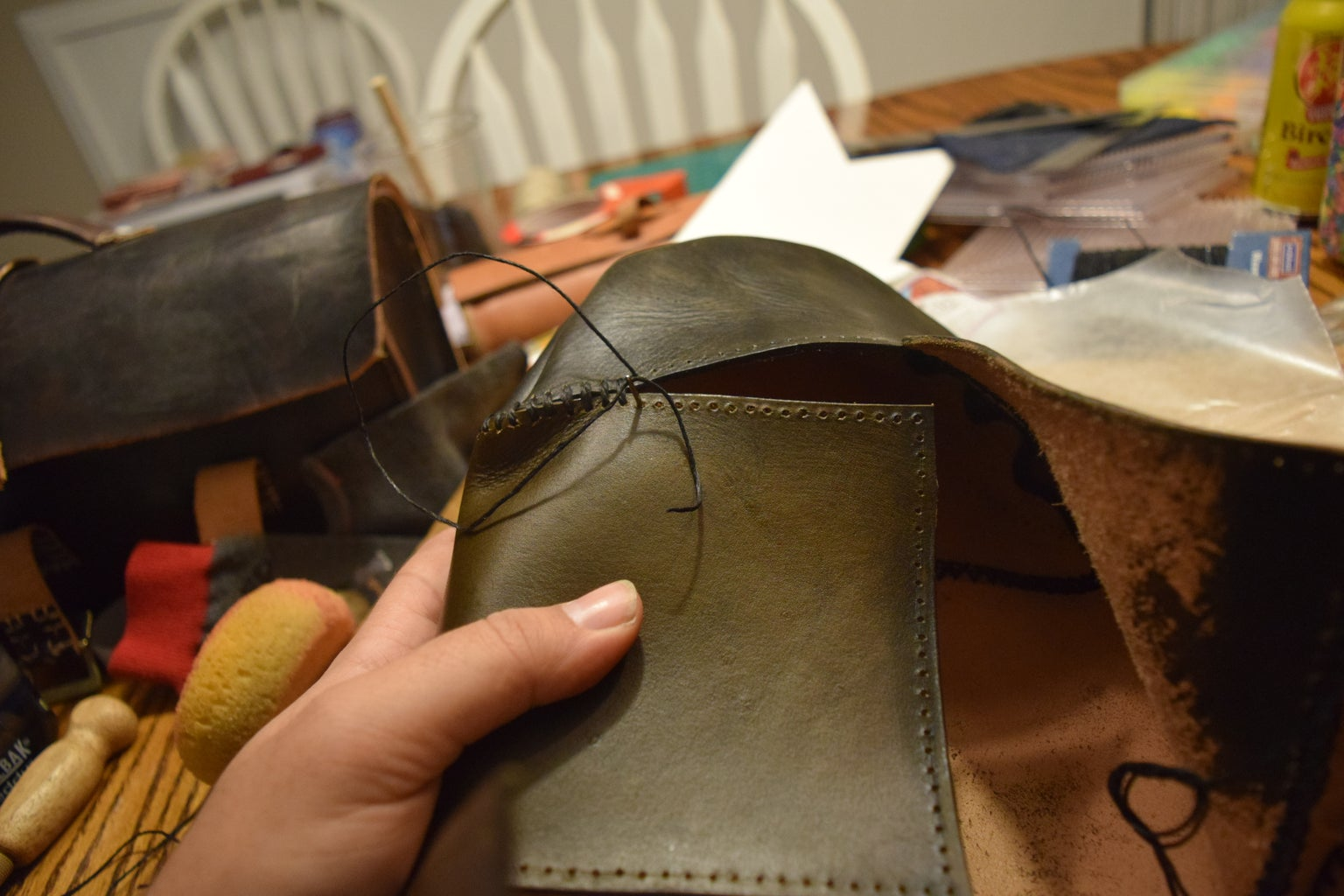 Attaching Our Toe and Heel With Cross Stitching