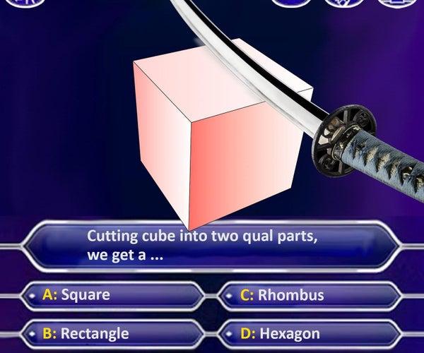 Ninja Sword Cuts Math Cube in Half