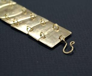 Hammered and Pieced Brass Bracelet
