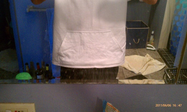 White T-Shirt With Hoodie Pocket Mod