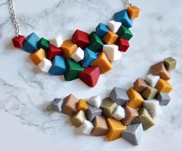 Cubic Statement 3D Print Necklace
