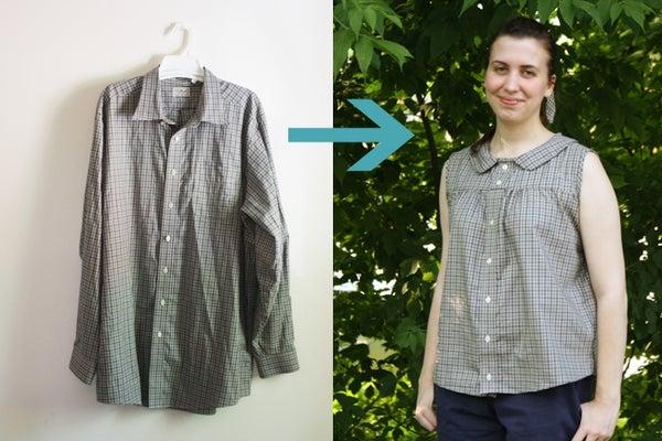 Upcycle a Men's Shirt Into a Retro Summer Blouse
