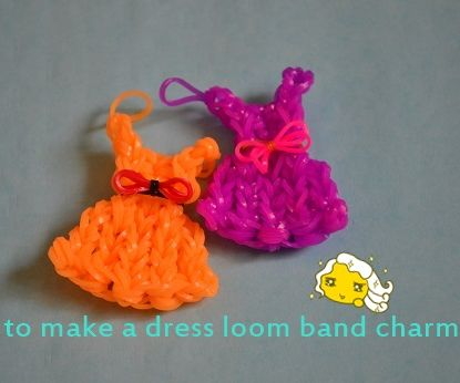 how to make a dress loom band charm