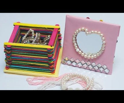 How to Make Jewelry Box With Colorful Popsicle Sticks   DIY Desk Organizer
