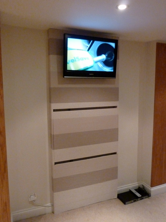 The TV wall mount, desk & hidden PC
