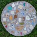 Concrete Steping Stone With Beach Tile Inlay