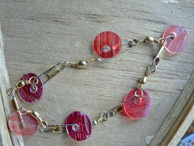 Disc Bead Bracelet - Cheap, Easy, and Recycled Shrinky Plastic!