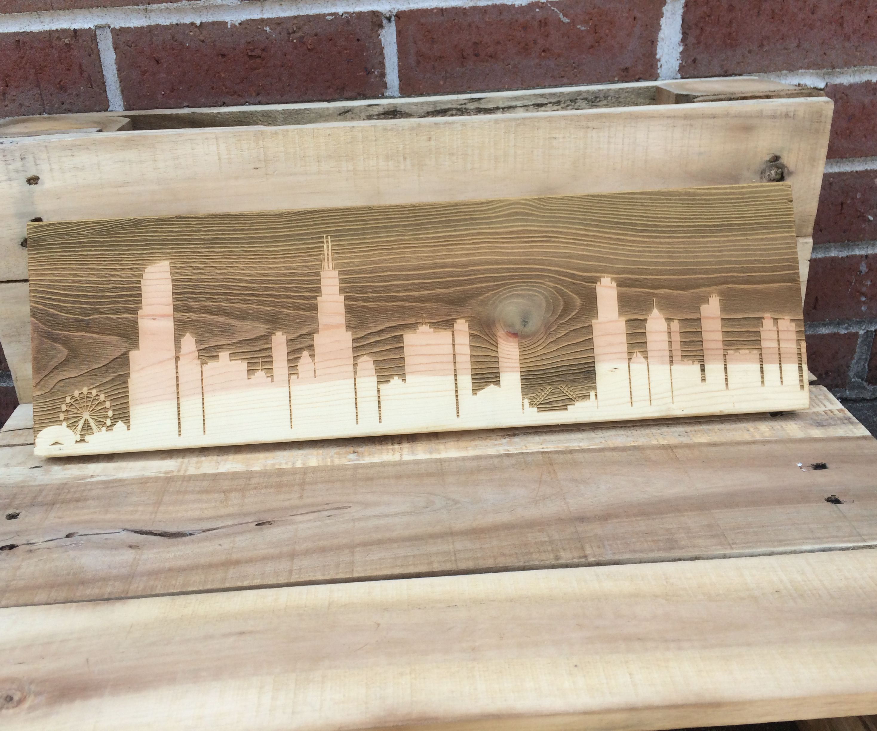 Wood Engraved City Skyline