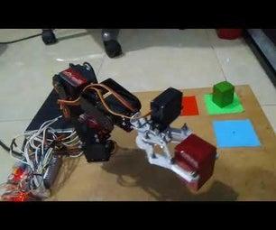 4自由度机械手逆运动学拾取放置颜色分类器
