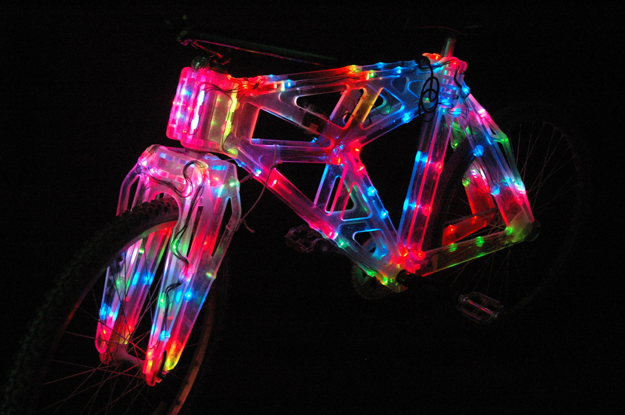 Tron bike: clear plastic bike with LED edge lighting