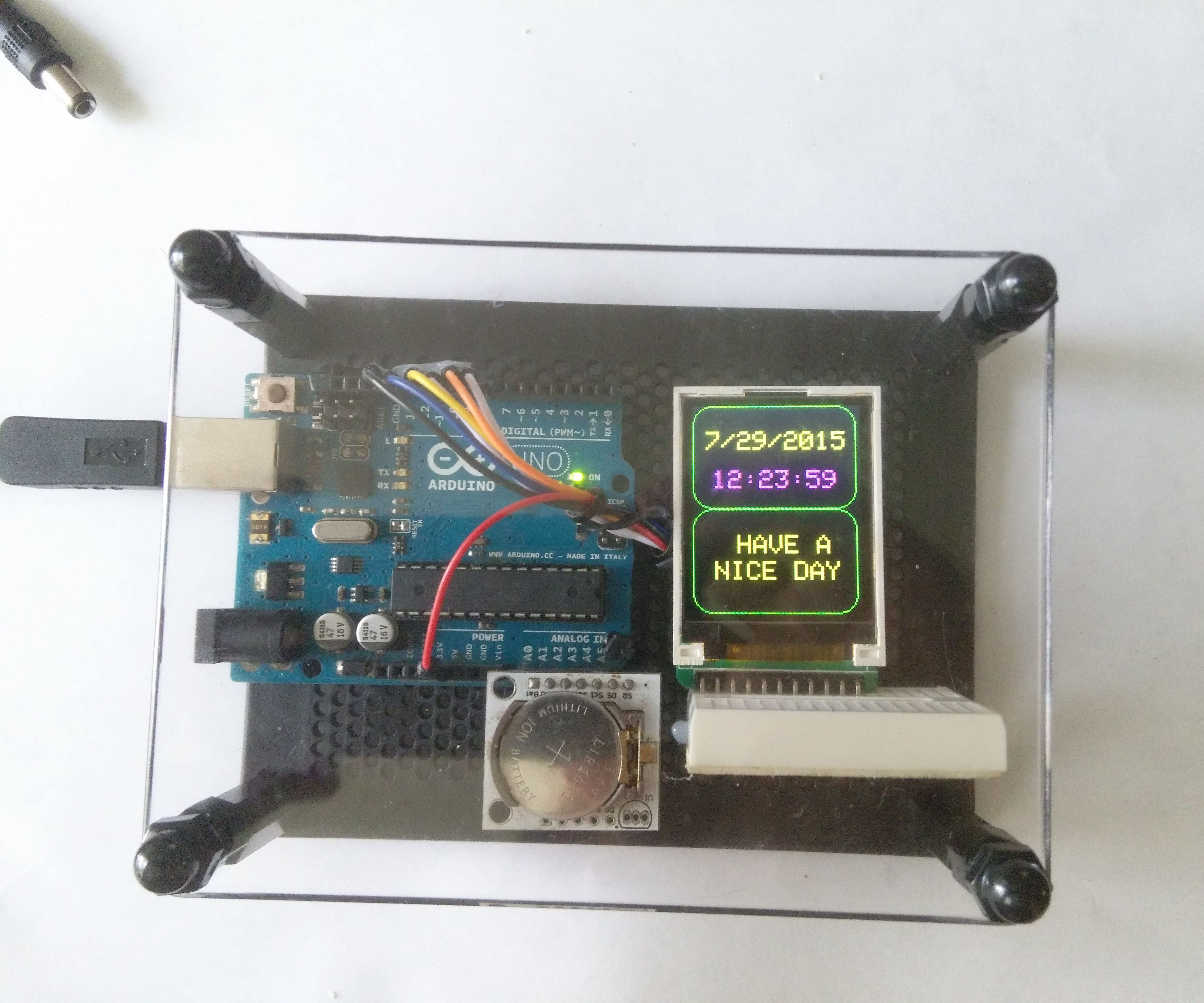 Arduino color LCD Message Clock
