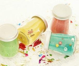 彩色沙子找到并寻求党的罐子