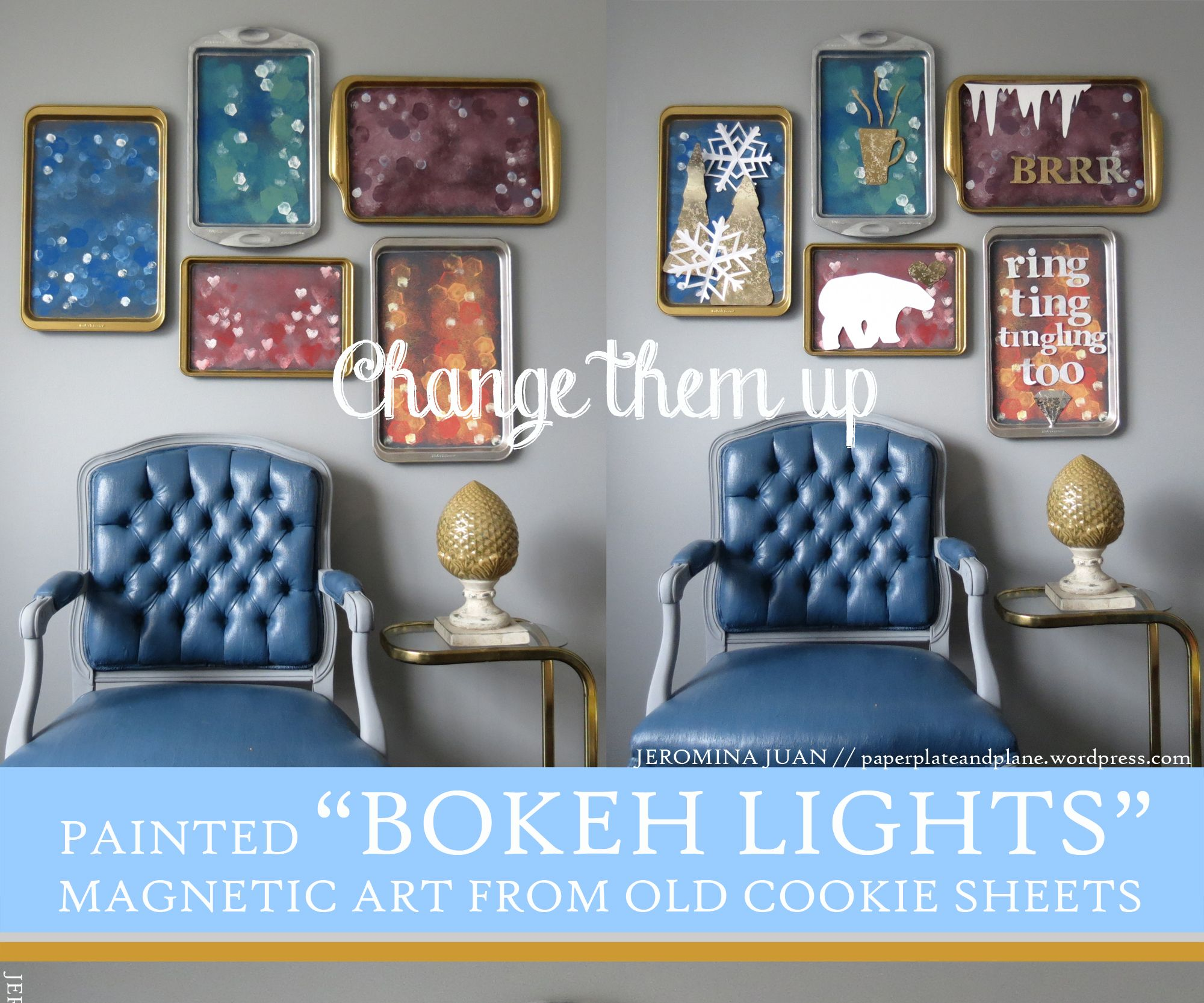 """Painted """"Bokeh Lights"""" Magnetic Art (from old cookie sheets)"""