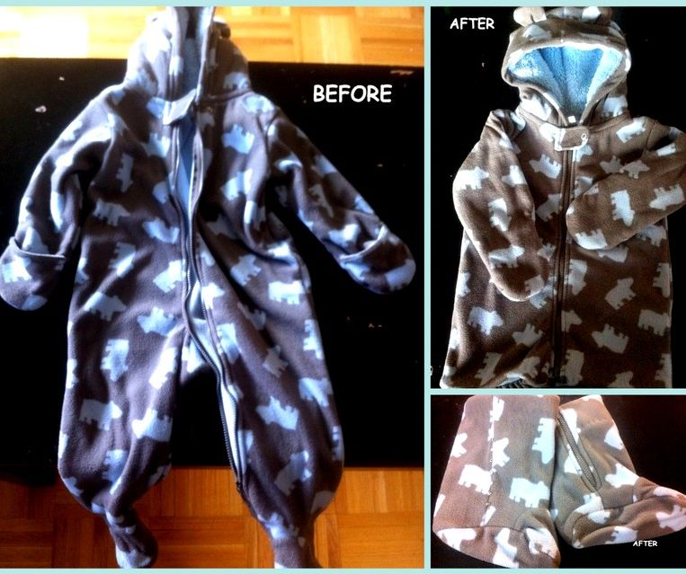 Altering an Infant's Hooded Pram Suit to a Toddler Jacket AND Booties