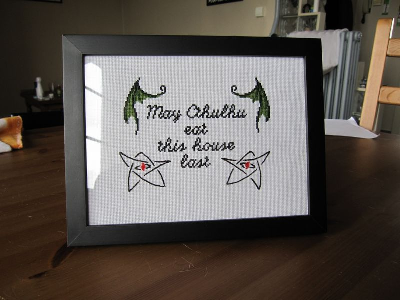 """""""May Cthulhu eat this house last"""" cross stitch + pattern"""