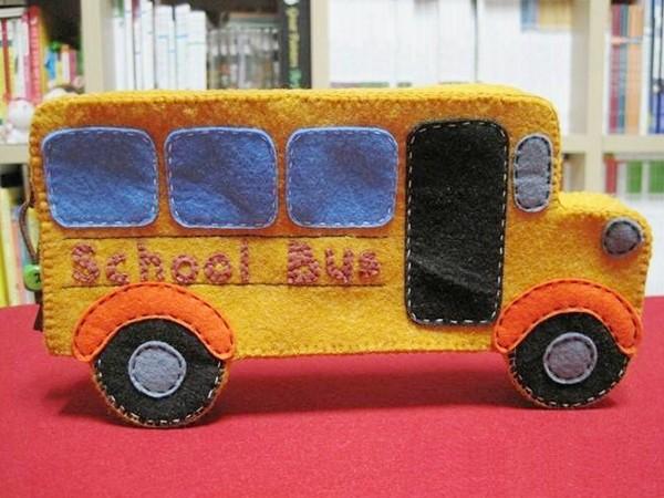 Handmade pen box in bus shape