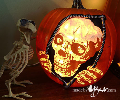 Escaping Skeleton Carved Pumpkin DIY