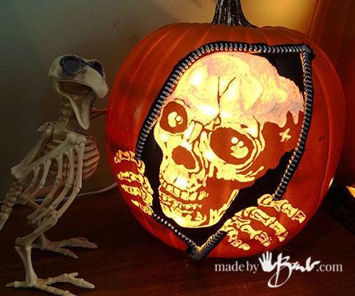 Escaping Skeleton Carved Faux Pumpkin DIY