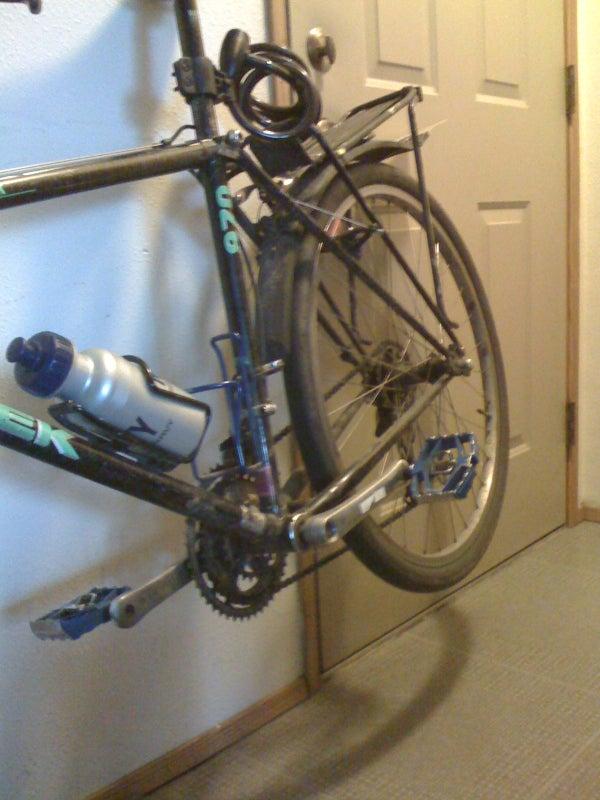 Ad Hoc Bike 'stand' Using Doorknob and Bike Rack