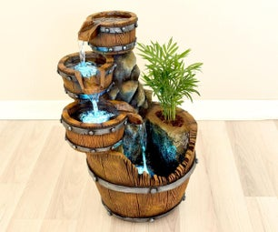 Concrete Barrel Waterfall Fountain Pot